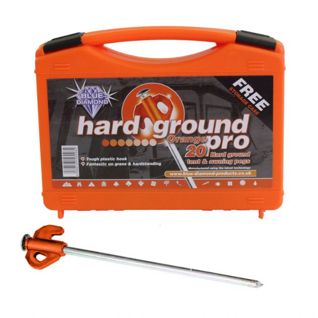 Blue Diamond Orange Hard Ground Pro 20 Pegs, Tent Camping Accessories, Outdoor Camping Equipment - Grasshopper Leisure